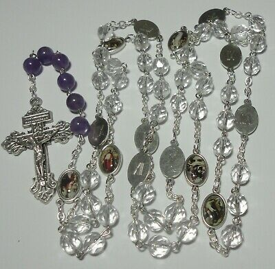 Stations Of The Cross Rosary Chaplet W/ Pardon Crucifix & Genuine Amethysts • 22£