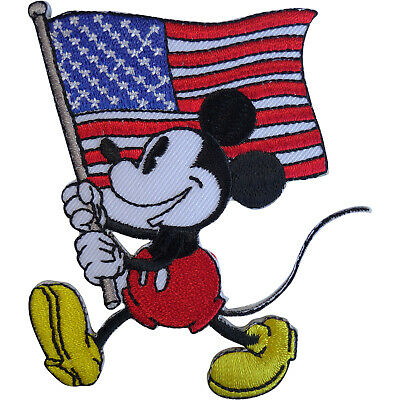 Disney Mickey Mouse USA Flag Patch United States Of America Iron Sew On Badge • 2.79£