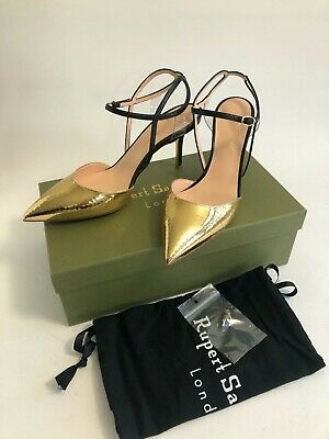 Rupert Sanderson Hammered Gold Effect Strappy Evening Shoes Size 6 (39) • 135£