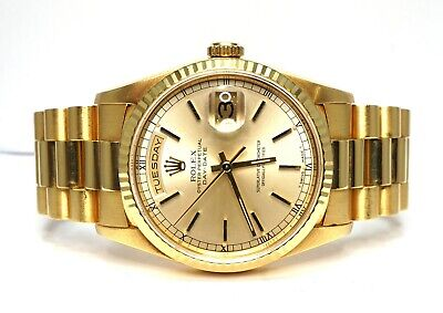 ROLEX Day-Date 36 18238 18ct Gold 1992 Champagne Baton Dial Dot Boxed • 11,995£