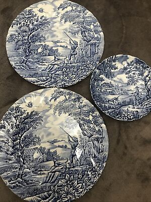 £20 • Buy MYOTT England THE HUNTER Blue And White Dinner Plates 9 In / Saucer Scallop Edge