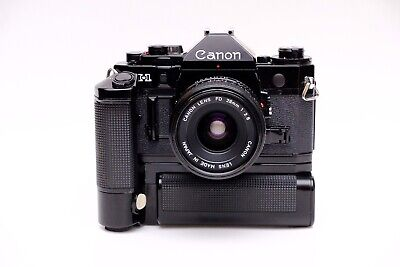 Canon A-1 35mm SLR Film Camera With MA Power Winder & 28mm F2.8 FD - Immaculate • 275£
