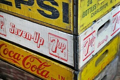 Vintage 1970s SEVEN UP Crate Wooden Box Made In USA Kiste No Coca Cola Soda 7up • 38.95£