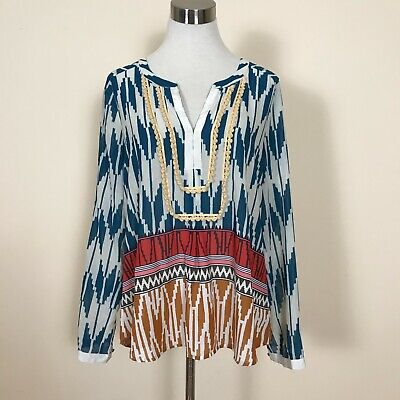$ CDN24.20 • Buy Mauve Anthropologie Multi Colored Abstract Print Tunic Top Sz 10