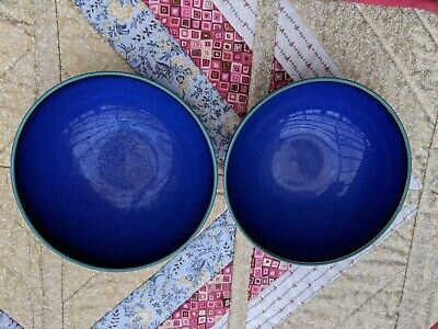 2 Denby Metz (navy/green) Soup / Cereal Bowls • 9.50£