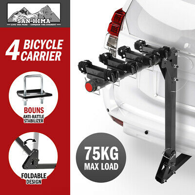 AU179.95 • Buy SAN HIMA 4 Bicycle Bike Rack Rear Car Carrier Hitch Mount 2  Foldable Towbar