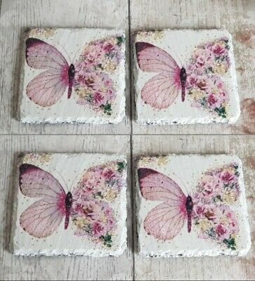 £12.99 • Buy Set Of 4 Butterfly Slate Coasters/home Decor/hand Decorated/dining/gift