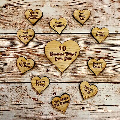 Personalised Valentines Quote Message 10 Reasons Why I Love You Wooden Tags • 4.99£