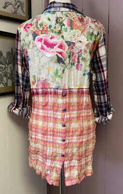 $ CDN31.54 • Buy ANTHROPOLOGIE CYRENA Plaid & Heavily Embroidered Blouse Tunic Floral Small