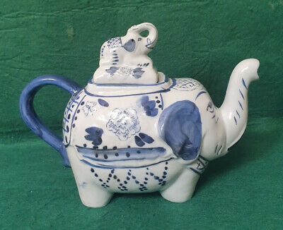 Novelty Teapot - Blue & White Elephant • 3.99£