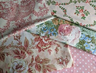 5 Vintage French Linen Fabric Remnants Faded Roses Toile De Jouy Fabric Bundle 4 • 14.95£