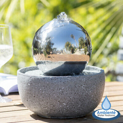 £69.99 • Buy Garden Table Top Water Feature Eclipse Stainless Steel Sphere LED Lights- 15cm