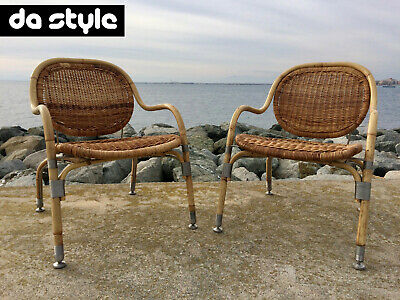 Set Of 2 Mats Theselius Rattan Esay Chairs IKEA PS NATON Design 2001 Sweden • 868.18£