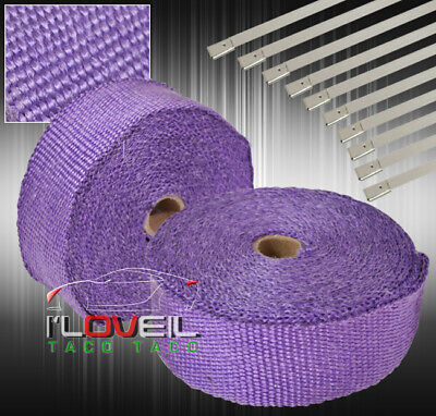 $ CDN41.66 • Buy 30Ft X 2  X1.5mm Heat Wrap Cover Down Pipe Header Exhaust Intake Piping Purple