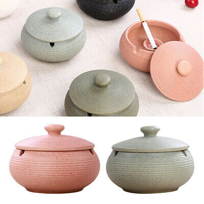 2pcs Ceramic Ashtray With Lids Windproof Cigarette Ashtray Indoor/Outdoor • 20.89£