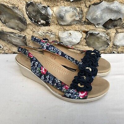 Womens Hotter Wedge Sandals UK 5 EU 38 Blue Floral Pattern Suede Fabric Open Toe • 12.99£
