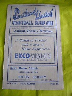 Rare 3rd Div Southend United V Wrexham 14th December 1949 • 7.99£