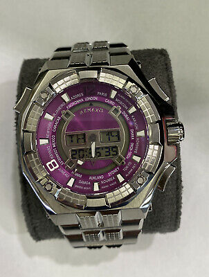 New Renato Men's Mostro Ana-Digi World Time Purple Dial Swiss Made ISA 9003 • 57.78£