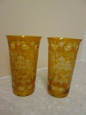 Antique Bohemian Cut To Clear - Pair Of  Amber Drinking  Glasses  C.1880 • 45£