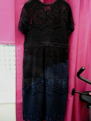 BNWT Marks & Spencer Two Tone (Black/Blue) Broderie Anglaise Dress Size 16 • 25£