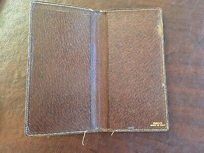 $50 • Buy Vintage Gucci Brown Leather Bifold Long Wallet Checkbook Cover
