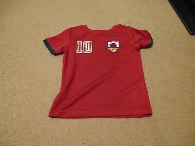 Boys Portugal Number 10 Style Football Top T-Shirt Red Size 4-5 Years • 0.99£