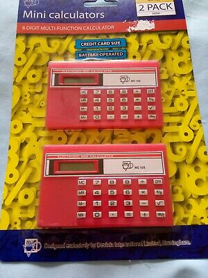 TWO Small Pocket Credit Card Size Mini Stationery Calculator In Packaging! • 8.07£
