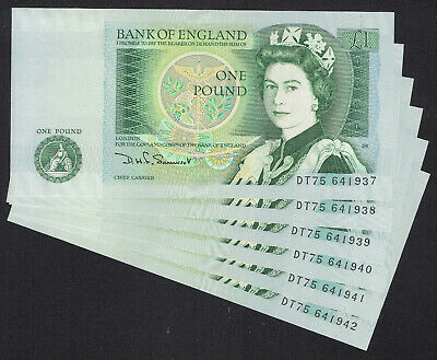 🌟 GB SOMERSET £1 ONE POUND NOTE B341 BANKNOTES - 6x CONSECUTIVE NOTES • 5.50£