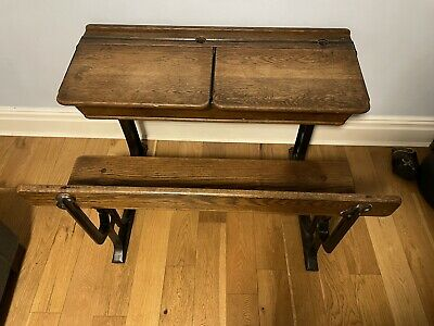 Vintage Double School Desk With Bench, Cast Iron Frame • 125£