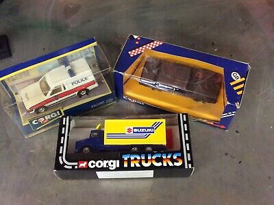 Corgi X3 Ford Escort Police Van, Scalia Truck And Volvo Car • 19.99£