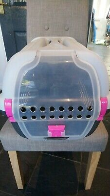 Plastic Pet Carrier For Cat Dog Puppy Rabbit Travel Box Basket Cage Outdoor Used • 3.90£