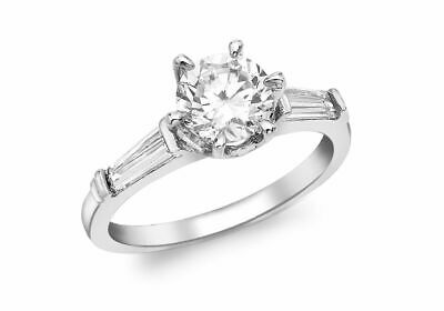 AU377.86 • Buy 9ct White Gold Stone Solitaire With Stone Baguettes Ring