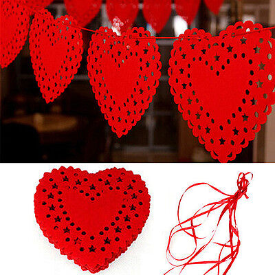 Heart Nonwovens Fabric Flag Party Garland Decor Banner Bunting Wedding_b$PTUK • 3.82£