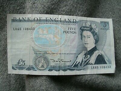 OLD £5 FIVE POUND BANK OF ENGLAND BANK NOTE SOMERSET DUKE OF Wellington • 5£