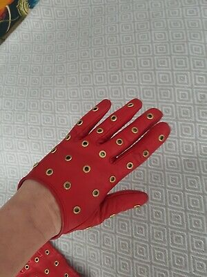 Real Leather Studded Gloves Size S • 17£