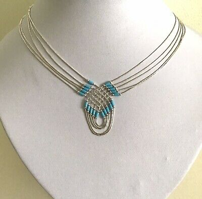 Native American 5 Strand Liquid Silver Turquoise Necklace With Minor Defect • 9.95£