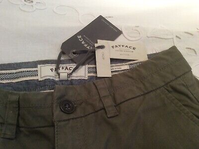 Fat Face Khaki Green Cropped Chino Trousers Twill Uk 8. Buy 1 Get 1 Free! • 10£