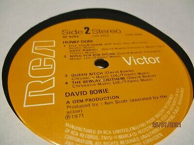 David Bowie Hunky Dory Original RCA LP Record With Lyric Sheet • 4£