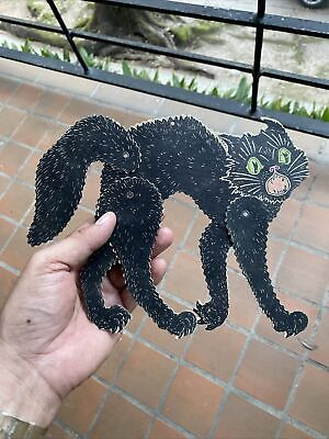 $ CDN38.09 • Buy OLD Vintage Die Cut Halloween Decoration Antique Black Cat