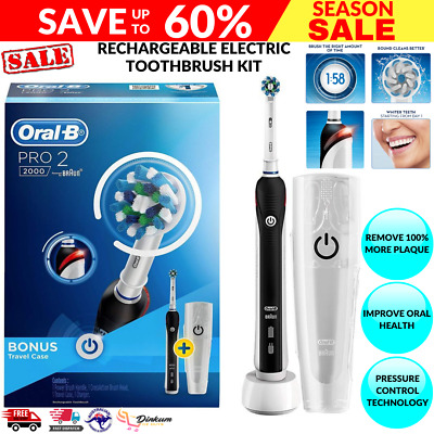 AU104 • Buy Oral-B PRO 2 2000 Rechargeable Electric Toothbrush Black Midnight + Travel Case