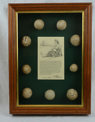 9 X Antique Vintage Collectable Golf Balls In Wooden Glass Display Case • 185£