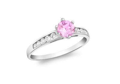 AU325.88 • Buy 9ct White Gold White With Pink Solitaire Ring
