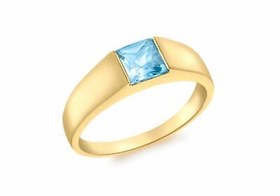 AU408.88 • Buy 9ct Yellow Gold Square Blue Topaz Dress Ring