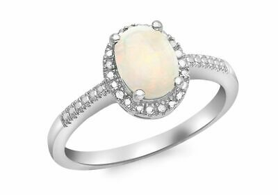 AU480.72 • Buy 9ct White Gold Diamond And Opal Cluster Ring
