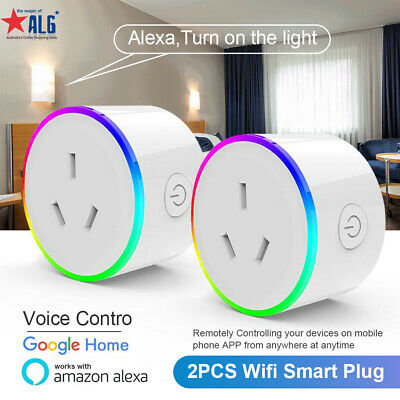 AU35.99 • Buy 2 PCS Wifi Plug Smart Home Socket Switch Adaptor App Remote Alexa Google Home AU