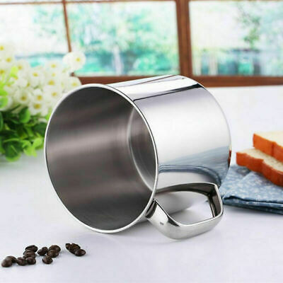 AU9.50 • Buy Stainless Steel D Shape Cup Water Mug 300ml Capacity Coffee Y6V7 HOT R3G7