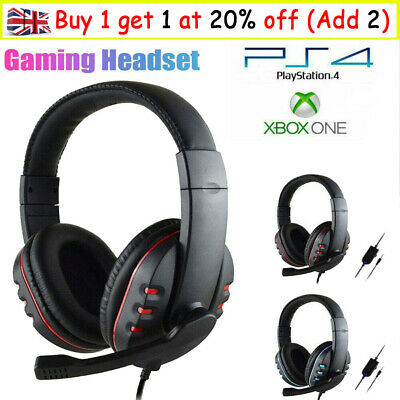 For PS4 Laptop Xbox One Gaming Headset Stereo Surround Headphone 3.5mm Wired Mic • 10.99£