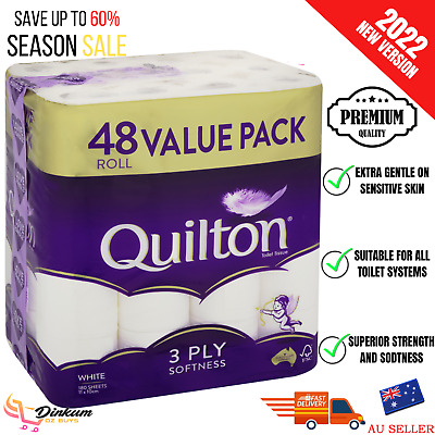 AU40.44 • Buy 48x Quilton Toilet Paper Tissue Rolls 3-Ply 180 Sheets - Free Postage Best Price