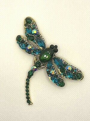 £6.99 • Buy Large Dragonfly Crystal Brooch Vintage Insect Diamante Green Broach Lapel Pin UK