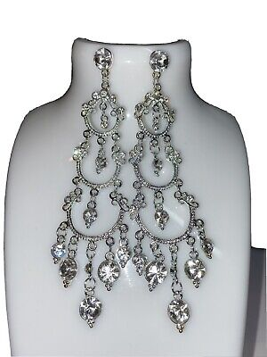 £5.99 • Buy Silver And Crystal Long Chandelier Style Earrings